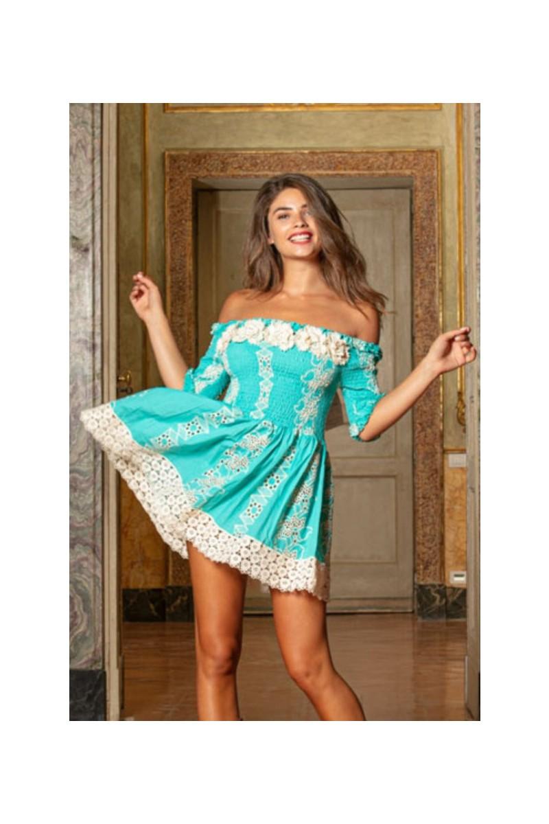 antica sartoria turquoise short dress